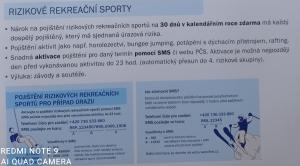 Aktivace pojištění rizikového sportu Flexi 2015